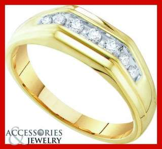 MENS YELLOW GOLD DIAMOND WEDDING BAND RING ANNIVERSARY
