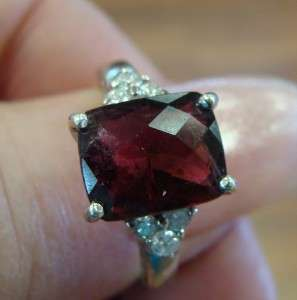 Antique 9K White Gold Rhodolite Garnet Diamond Ring