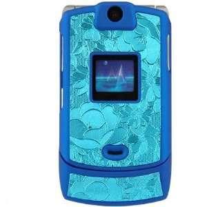 PCMICROSTORE Brand Motorola Razr V3 V3c V3m V3i Rubberize Blue Flower