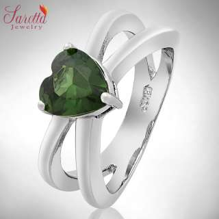 Lady Fashion Jewelry Heart Cut Green Emerald Cocktail Jewellery Ring