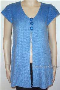 LILIA VIOLA LADIES KNIT VEST TOP CAP SLEEVE DIP DYE NEW