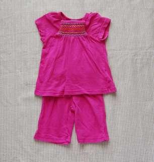 Girl Smocked Top Capri Pants Set 0 3 months Boutique Clothes