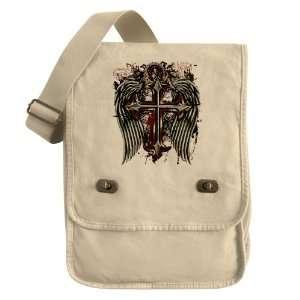 Messenger Field Bag Khaki Cross Angel Wings