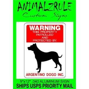 AGENTINO DOGO DOG SIGN 9x12 ALUMINUM