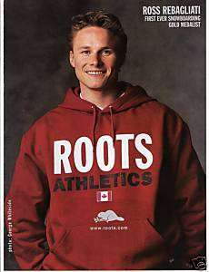 1998 orig ROSS REBAGLIATI rare ROOTS clothing mag ad