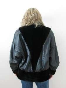 LEATHER GENUINE REAL SHEARED BEAVER FUR LADIES JACKET COAT~M/L