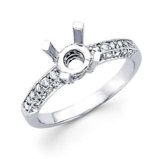 18k White Gold Diamond Engagement Semi Mount Ring