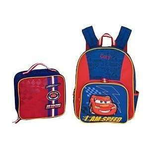Disney Store Lightning McQueen Cars Backpack and Lunch Box