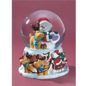 Santa Snowman Musical Snow Globe   White Christmas