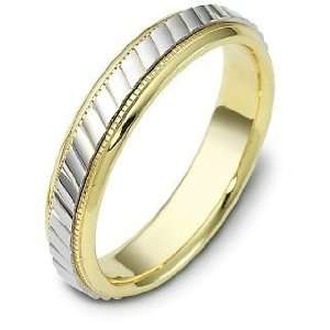 14 Karat Two Tone Gold Multi Texture 5mm Comfort Fit Wedding Band Ring