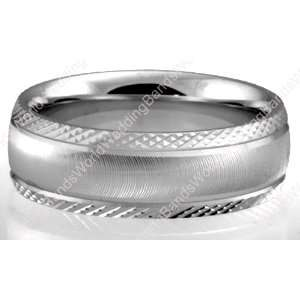 Unique Wedding Bands,14K White Gold, 6.50mm Wide Jewelry