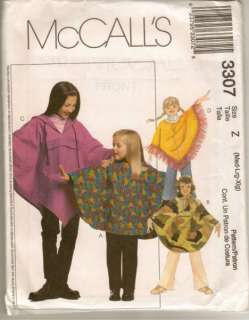 mccalls 3307 pattern girls poncho and pull on pants sizes medium 7 8