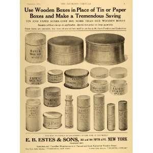 1921 Ad E. B. Estes Wooden Pill Cosmetic Dosage Boxes