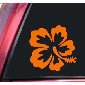 Hibiscus Hawaiian Flower Orange Vinyl Decal Sticker Automotive