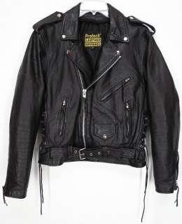 Vtg PROTECH® Side Laced LEATHER Motorcycle BIKER Coat JACKET Black 40