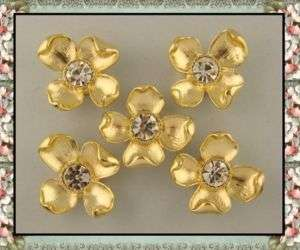 GOLD MATTE Dogwood Made w/10mm Clear Swarovski Crystal Elements