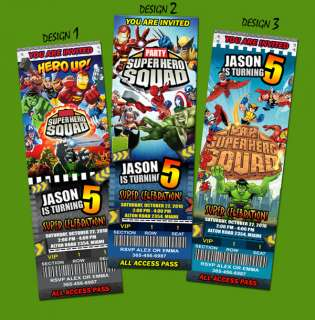 SUPER HERO SQUAD BIRTHDAY PARTY INVITATION TICKET SPIDERMAN HULK