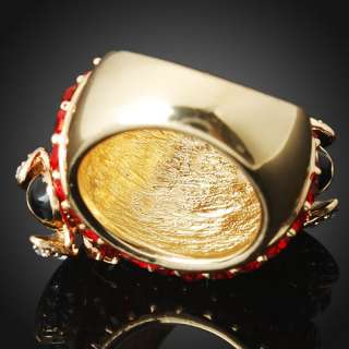 Dute Double Bees Red Crystal Embed Gold Plated Lady Fashion Band Ring