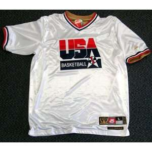 Magic Johnson Autographed Nike White Team USA Warm Up Jersey
