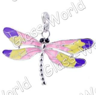 6pc Dragonfly Enamel&White Gold Plated 66*38MM Pendants