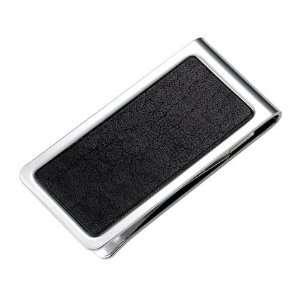 Black Genuine Leather Chrome Plated Metal Money Clip