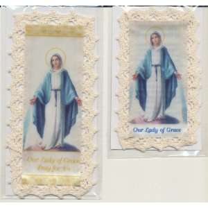 Grace Bookmark Cloth/Lace with Matching Holy Prayer Card Everything