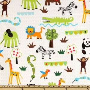 44 Wide Wild Friends Baby Jungle Animals White Fabric By