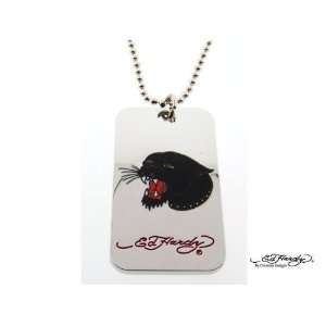 com Ed Hardy Panther Head Dog Tag Pendant Necklace ~ Pouched Jewelry