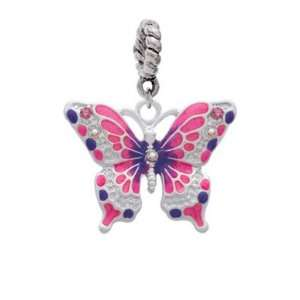 Hot Pink & Purple Butterfly Silver Plated European Charm Dangle Bead