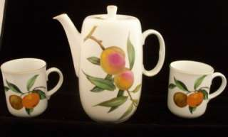 ROYAL WORCESTER EVESHAM GOLD COFFEE POT & TWO MUGS MINT