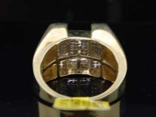 MENS 10K YELLOW GOLD PAVE DIAMOND SQUARE PINKY RING