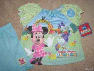 MICKEY MOUSE CLUBHOUSE Minnie 3pc S/S Shirt Pajamas 3T