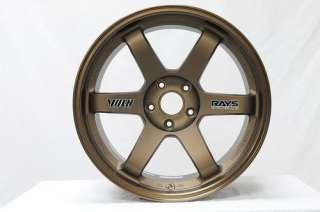 RAYS TE37 BRONZE RIMS WHEELS 18x10.5 +22 5x114.3 EVO X STI SKYLINE R33