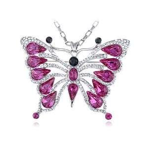 Silver Tone Fuchsia Exoskeleton Butterfly Swarovski Crystal Element