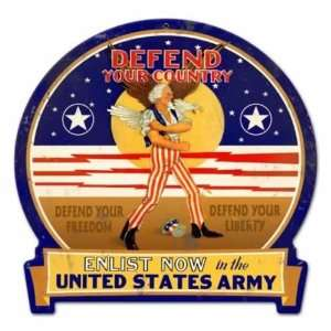 Defend Your Country Military Metal Sign Army Pride Home & Kitchen