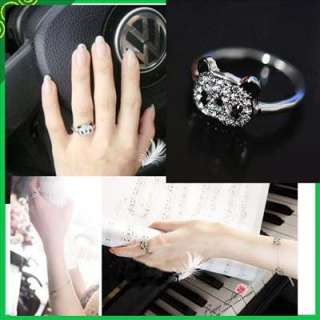 Fashion Lovely Cute Full Rhinestone Bling Panda Ring adjustable w06