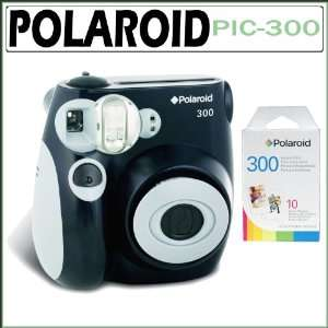 300B Instant Analog Camera in Black with Polaroid PIF 300 Instant Film