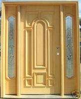 Solid Oak Wood Exterior Entry Front Door w/ Sidelights