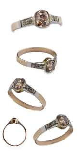 FANCY PINK BROWN 1ct+ OLD MINE CUT DIAMOND ANTIQUE ENGAGEMENT RING