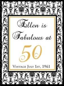 25 Personalized 50th Birthday Damask Wine Labels