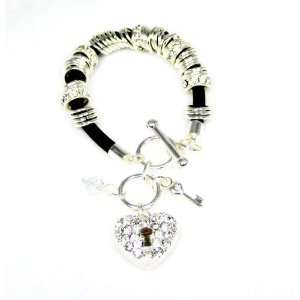 Stud Heart and Key Black Rubber Cord Toggle Charm Bracelet Jewelry