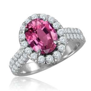 Pink Sapphire Diamond Engagement Ring in 18k White Gold Halo Ring