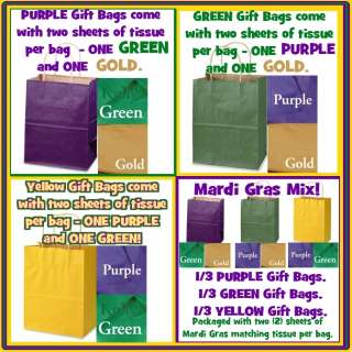 Green & Yellow MARDI GRAS Kraft Paper Gift Handle Bags w/ COLOR TISSUE