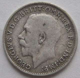 1920 UK Great Britain 3 Pence Silver Coin, VF, 100% Authentic.