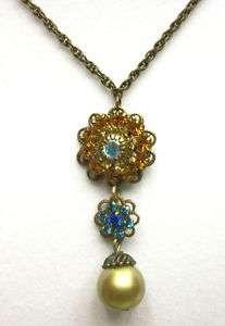 Palacios Crystal Flower Pearl Drop Prom Formal Wedding Necklace