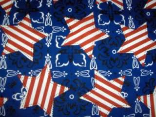 Tossed Stars Patriotic Red White Blue Cotton Quilt Fabric 1 3/4 Yards
