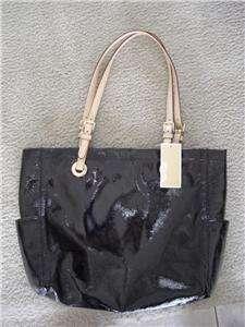 MICHAEL KORS BLACK ITEMS E/W SHINY PATENT LEATHER TOTE SHOPPER BAG NWT