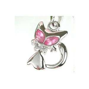 Cute Cat Pink Crystal Eye Cell Phone Silver Charm Strap