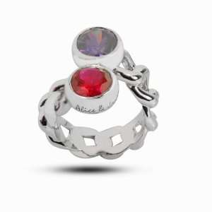 Customized Sterling Silver Couples Name and Birthstone Ring available