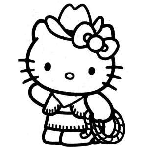 HELLO KITTY COWGIRL   Vinyl Decal Sticker 5 PINK